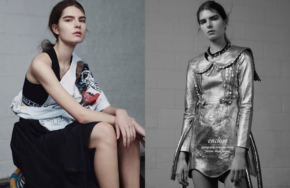 Jacket / Claire Barrow  Top / Shade London  Skirt / Daniel Pollitt Opposite Dress / Ammerman Schlosberg  Choker / Liam Hodges