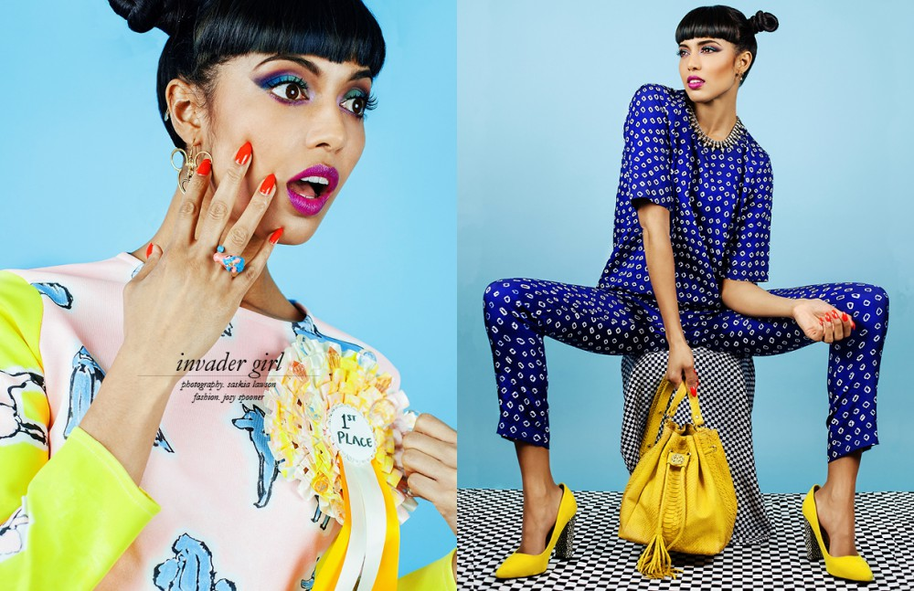 Right  Top / Typical Freaks  Jewellery / Invader Girl's own Left Top & trousers / Uzma Bozai  Shoes / Very  Bag / Helmer  Necklace / Stylist's own