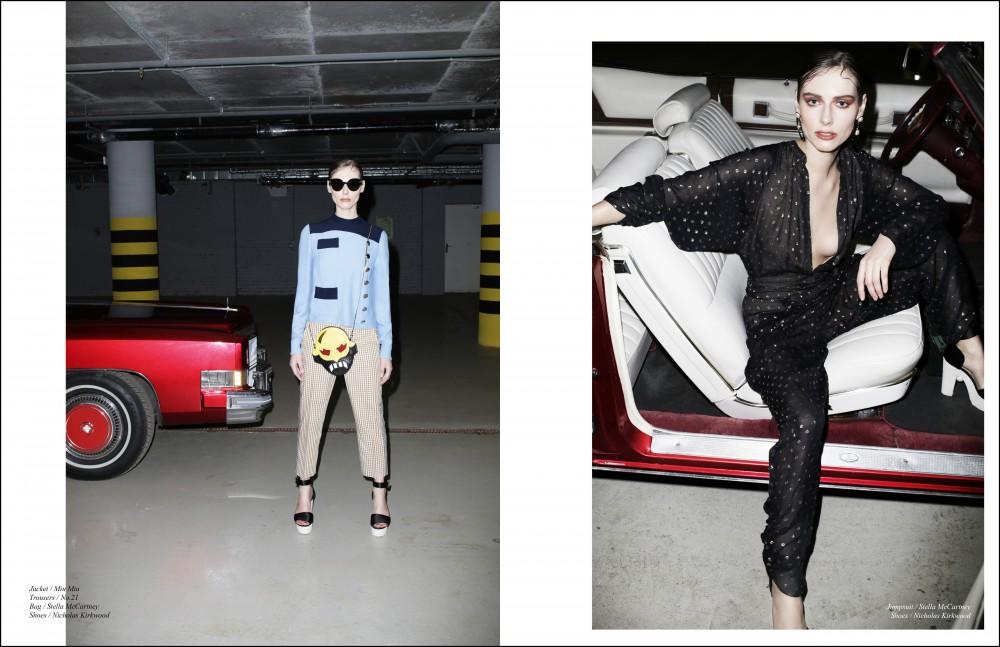 Jacket / Miu Miu Trousers / No.21 Bag / Stella McCartney Shoes / Nicholas Kirkwood Opposite Jumpsuit / Stella McCartney Shoes / Nicholas Kirkwood