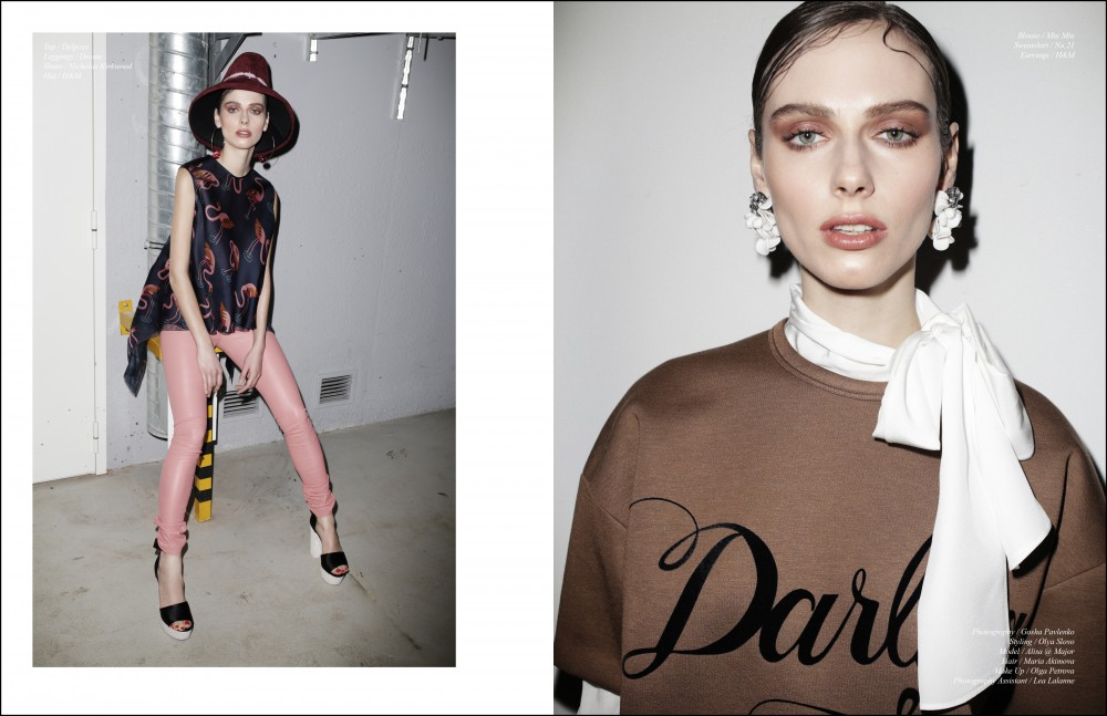 Top / Delpozo Leggings / Drome Shoes / Nicholas Kirkwood Hat / H&M Opposite Blouse / Miu Miu Sweatshirt / No.21 Earrings / H&M