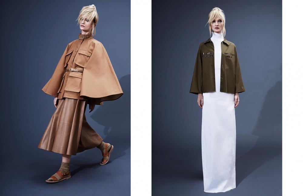 Cape & skirt / Salvatore Ferragamo Sandals / Samuji Socks / Stylist's own Opposite Shirt / MM6 Maison Margiela Dress & top / Assembly New York