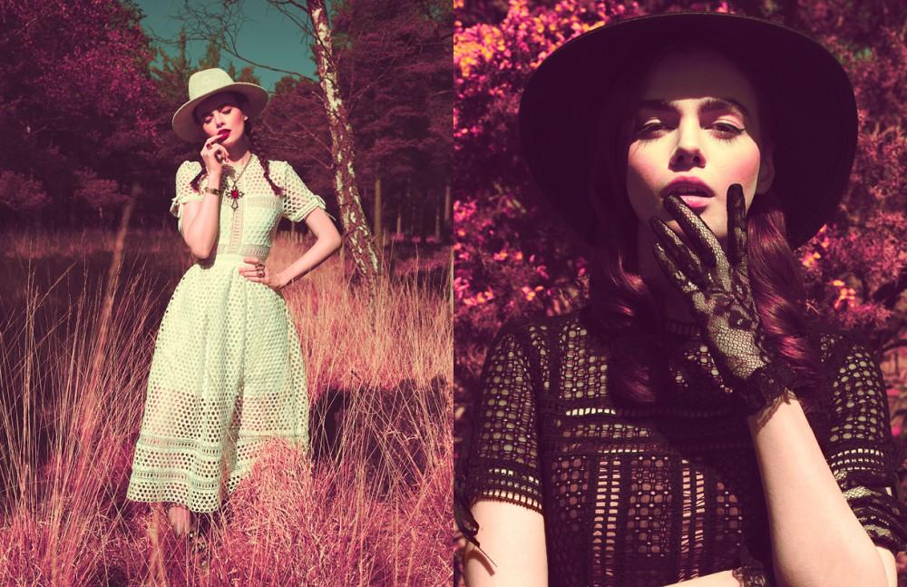 Dress / Self Portrait Hat / Rag & Bone Jewellery / Stylist's own Shoes / Carvela Opposite Dress / Self Portrait Gloves / Dolce & Gabbana Hat / Maison Michel