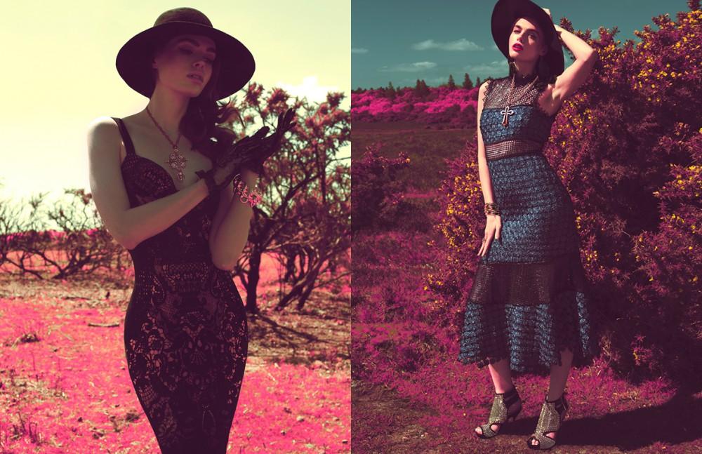 Dress / Stylist's own Hat / Maison Michel Gloves / Dolce & Gabbana Jewellery / Stylist's own Opposite Dress / Self Portrait Hat / Armani Collezioni Shoes / Carvela Jewellery / Stylist's Own