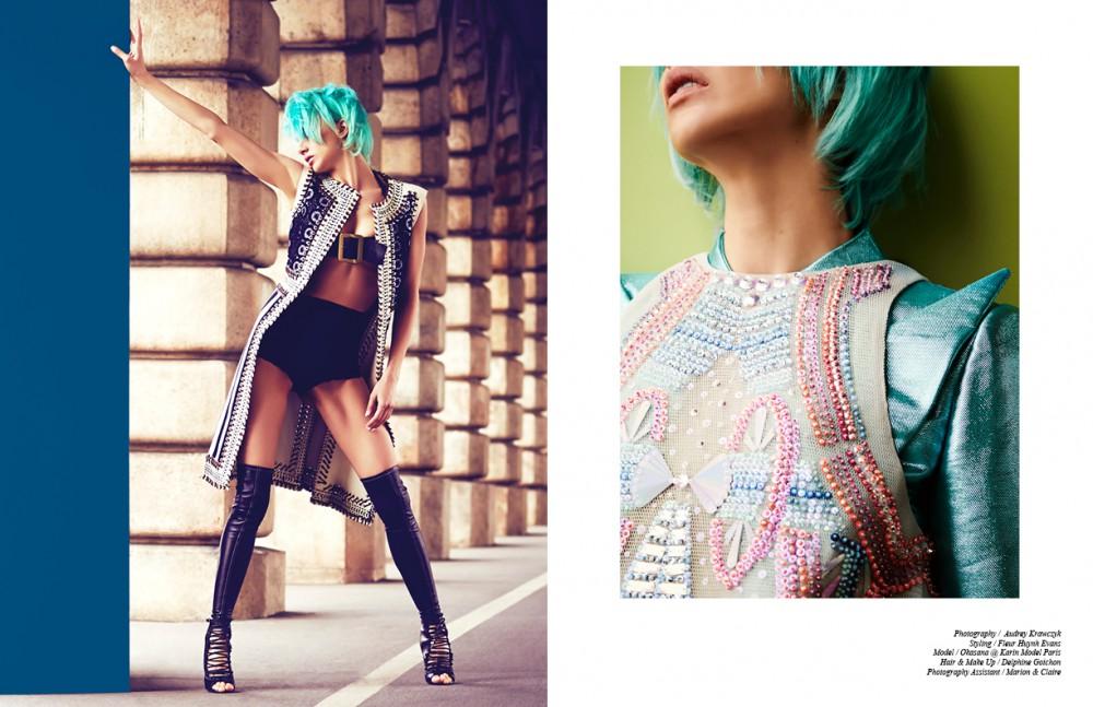Dress & sandals / Lanvin  Bracelets / Uriel Salas  Corset / Zana Bayne