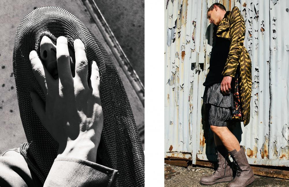 Chainmail Hood / Michael Schmidt Blazer / KRISVANASSCHE Opposite Coat & bloomers / Vivienne Westwood Tank & boots /Alexandre Plokhov