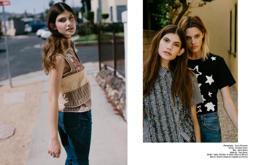 Top / Dior Jeans / Alexa Chung Boots / Loewe Choker / Nomadic Opposite Leela wears Top / Comme de garcon Jeans / Levi's Bella wears Top / Comme de garcon