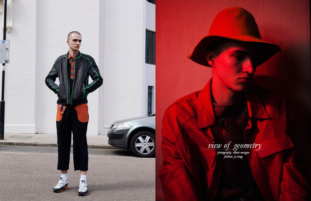 Jacket / Y3 Adidas Shirt / Shaun Samson Trosuers / Agi & Sam Shoes / Raf Simons for Adidas Opposite Hat / Burberry Prorsum Knit / Helen Lawrence Coat / Agi & Sam Tee / CMMN SWDN Trousers / Issey Miyake