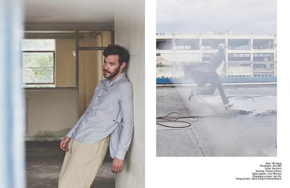 Left Shirt / Tropiano Trousers / Yohji Yamamoto Right Coat / E.Tautz Top / Norse Projects Trousers / Fendi Shoes / Diego Vanassibara Socks / Glenmuir