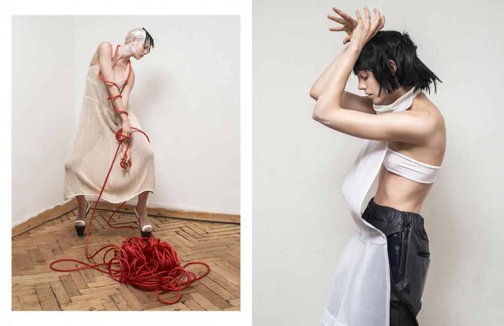 Dress / Renli Su Shoes / Alejandra Simonetta Opposite  Apron / Sadie Clayton Trousers / G.F. Hawthorne