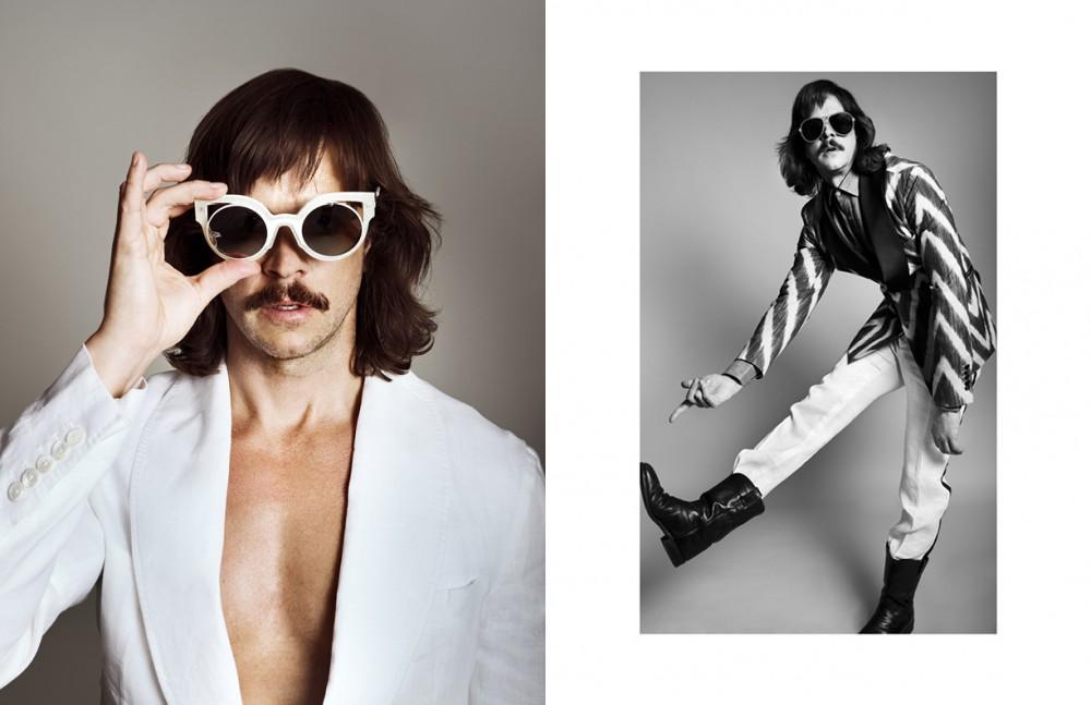 Tuxedo / Avellaneda Sunglasses / Fendi Opposite Tuxedo & shirt / Avellaneda Sunglasses / Gucci Boots / Casey's own