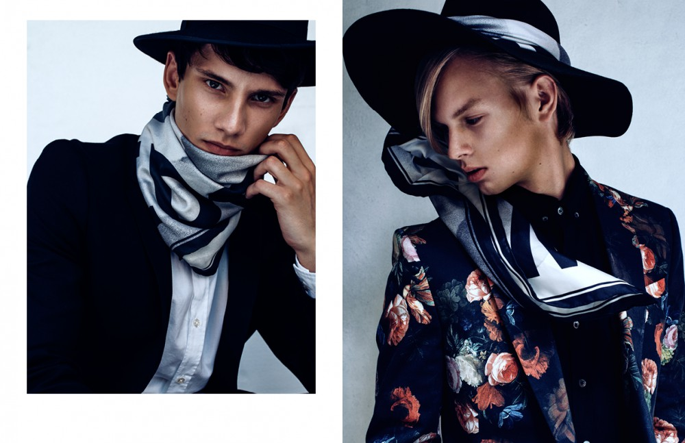 Hat / & Other Stories  Shirt / Schnayderman's Blazer / Oscar Jacobson Scarf / BLK DNM Opposite Hat / Diesel  Shirt / L'Homme Rouge Blazer / Nikolaj d'Etoiles Scarf / BLK DNM