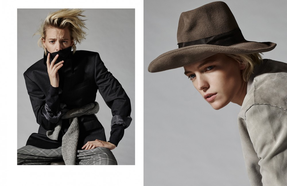 Blazer & Jumper / Boss Sweater around waist / Gant Trousers / Brioni Opposite Jacket / All Saints Shirt / Rag & Bone Hat / Anda & Masha