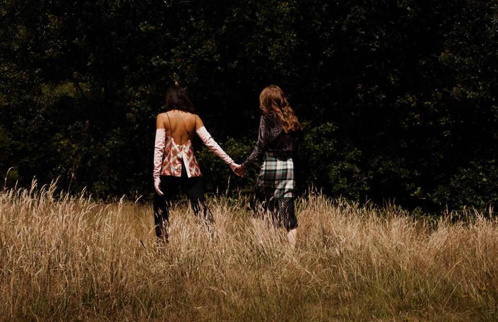 Sonya wears Blouse / Christopher Kane Skirt / Danielle Romeril Noah wears Top / Antipodium Trousers / Huishan Zhang Gloves / Fyodor Golan