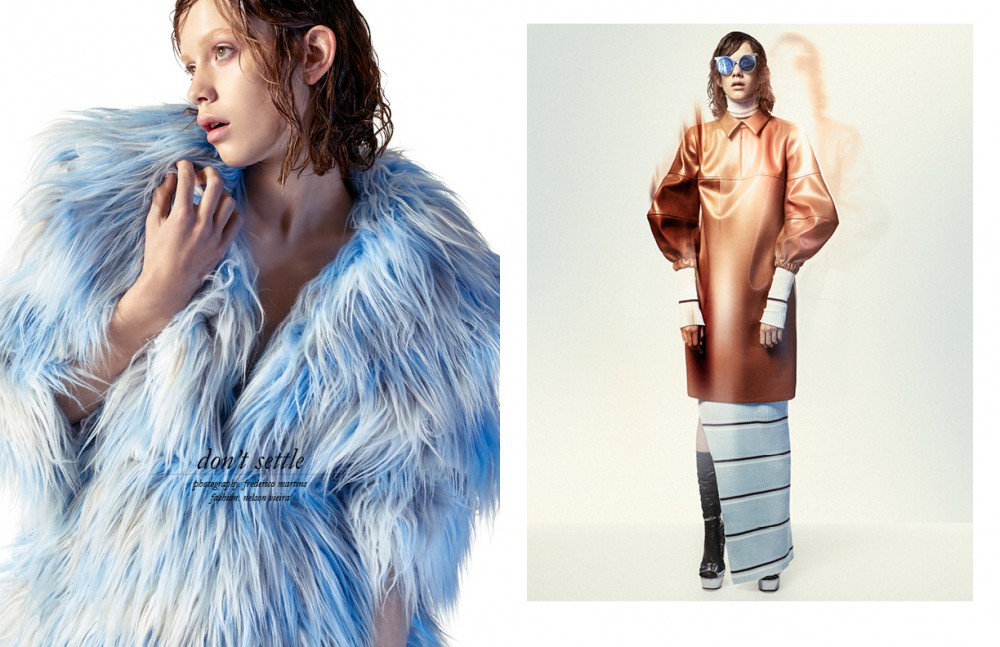 Coat / Alexandra Moura Opposite Dress (under) / KLAR Dress / Carlos Gil Socks / Stylist's own Shoes / Gucci Glasses / VAVA