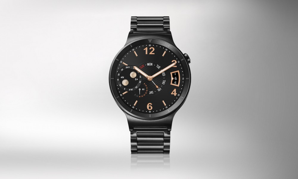 Huawei Watch-HQ photos-Front-Black with steel strap-JPG-20150723
