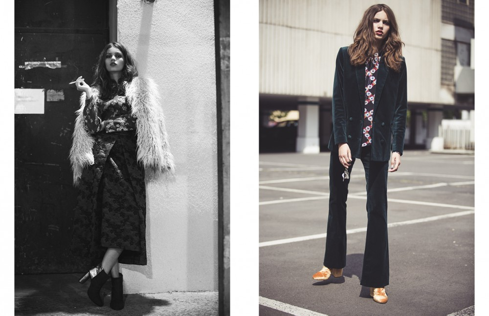 Fur Jacket, Silk Blouse & Silk Skrit / Dries van Noten Shoes / Bobby Kolade Opposite Green Velvet Suit / Weekday Flower Blouse / Sandro Velvet Shoes / Dries van Noten