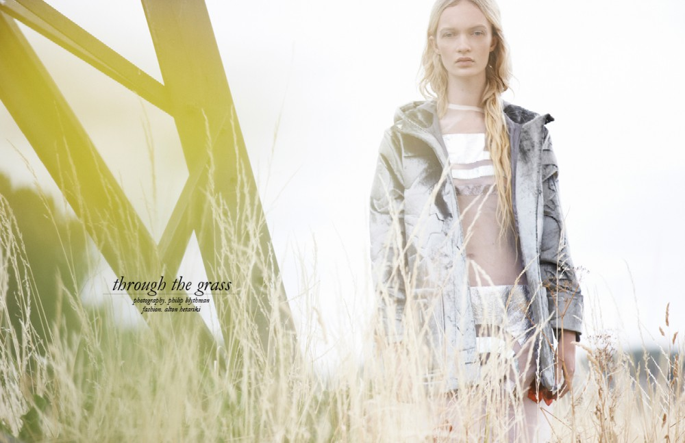 Metallic wool coat & metallic panel sheer dress / Sadie Williams
