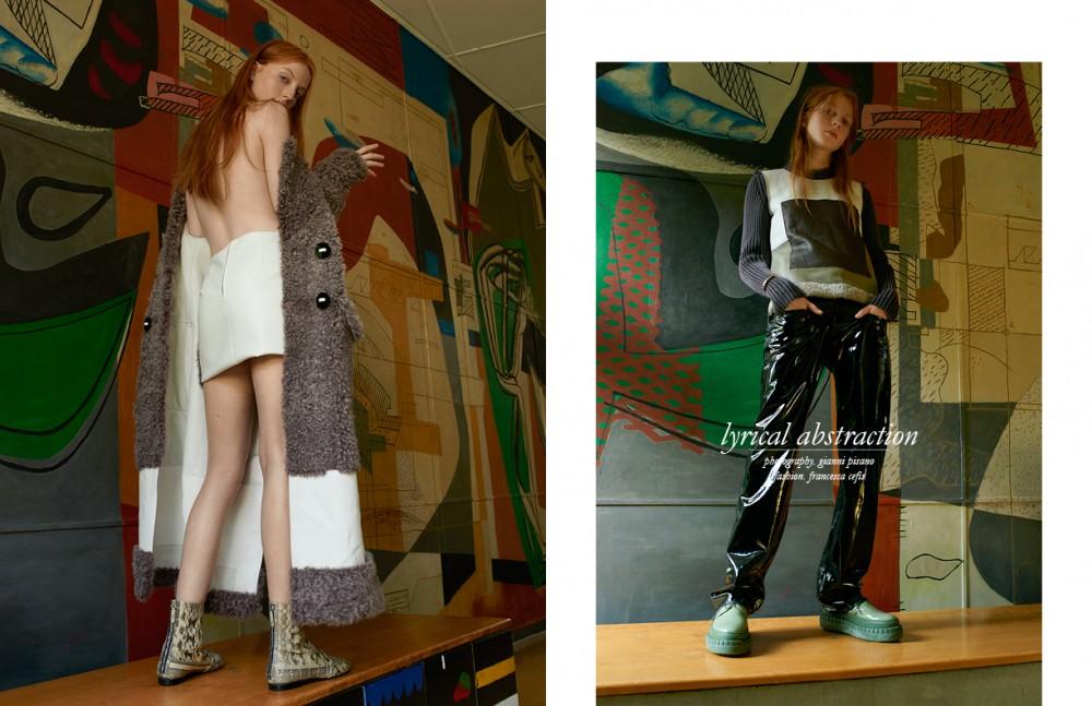Coat & skirt / Fendi Boots / N°21 Opposite Jumper / Fendi Trousers / Jean Colonna Shoes / Acne Studios Bracelet / Kim Mee Hye