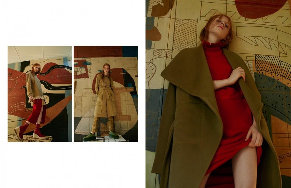 Left Jumper / Dries Van Noten Skirt & boots / sacai Right Coat / Dries Van Noten Trousers / N°21 Shoes / Acne Studios Opposite Jacket / Acne Studios Dress / Veronique Branquinho