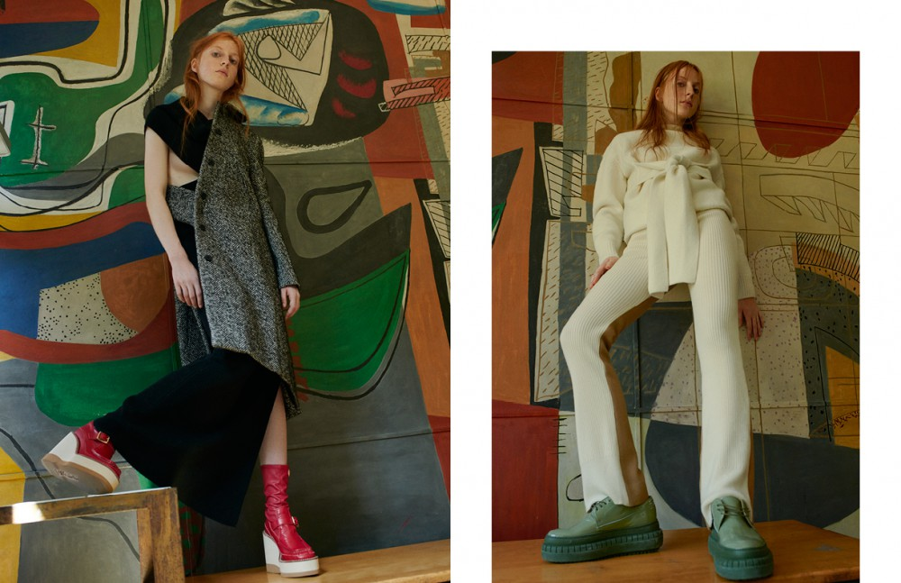 Jacket / N°21 Dress / Dušan Boots / sacai Opposite Jumper & shoes / Acne Studios Trousers / sacai luck