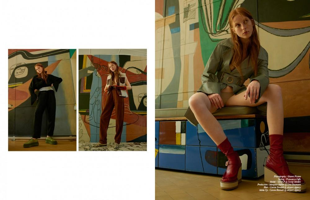 Left Jumpsuit / Ports 1961 Belt / Maison Margiela Shoes / Acne Studios Gloves / Veronique Branquinho Right Waistcoat / Acne Studios Trousers / Joseph Briefs / American Apparel Shoes / N°21 Opposite Coat / Maison Margiela Boots / sacai