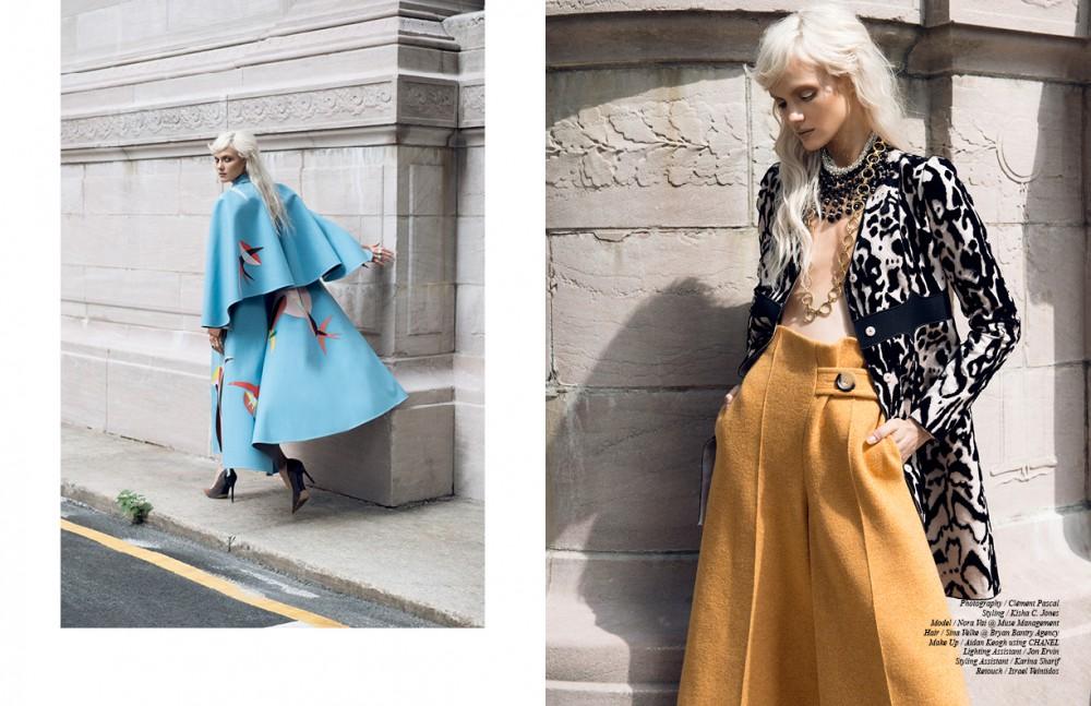 Coat / Delpozo Shoes / Alexandre Birman Opposite Coat / Giambattista Valli Trousers / Victoria Beckham Jewellery / Stazia Loren