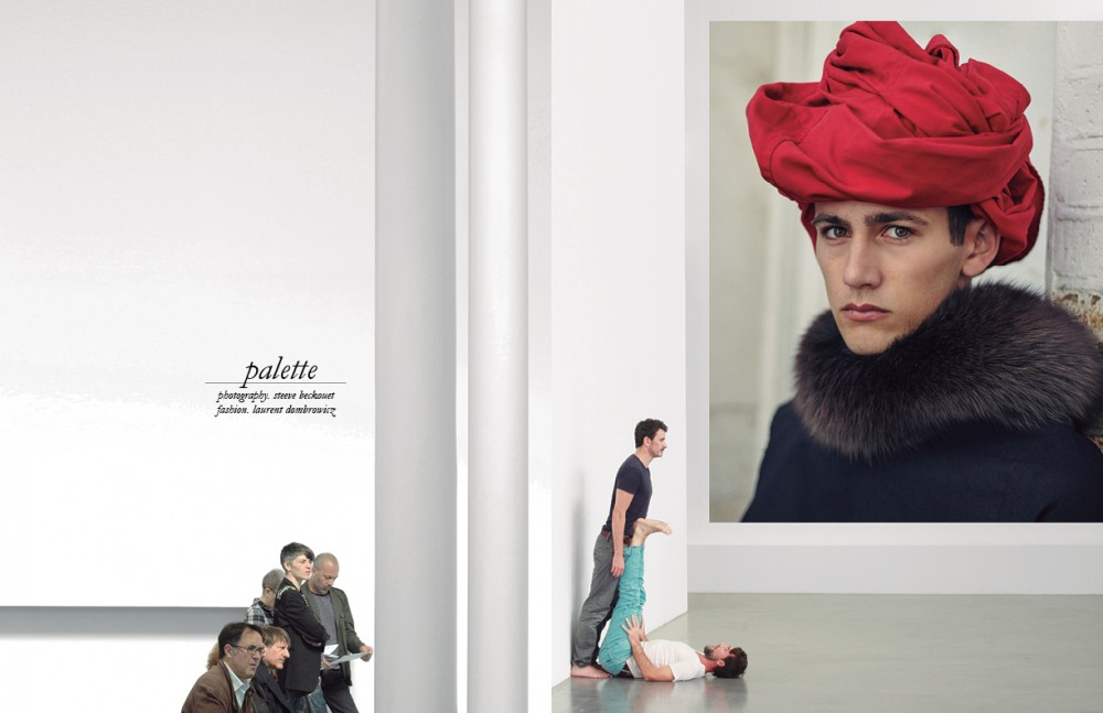 'Portrait of a Man in a Red Turban' / Jan van Eyck James wears Top / Rory Parnell Mooney Fur stole / Quentin Veron Shirt worn as turban / Kiton