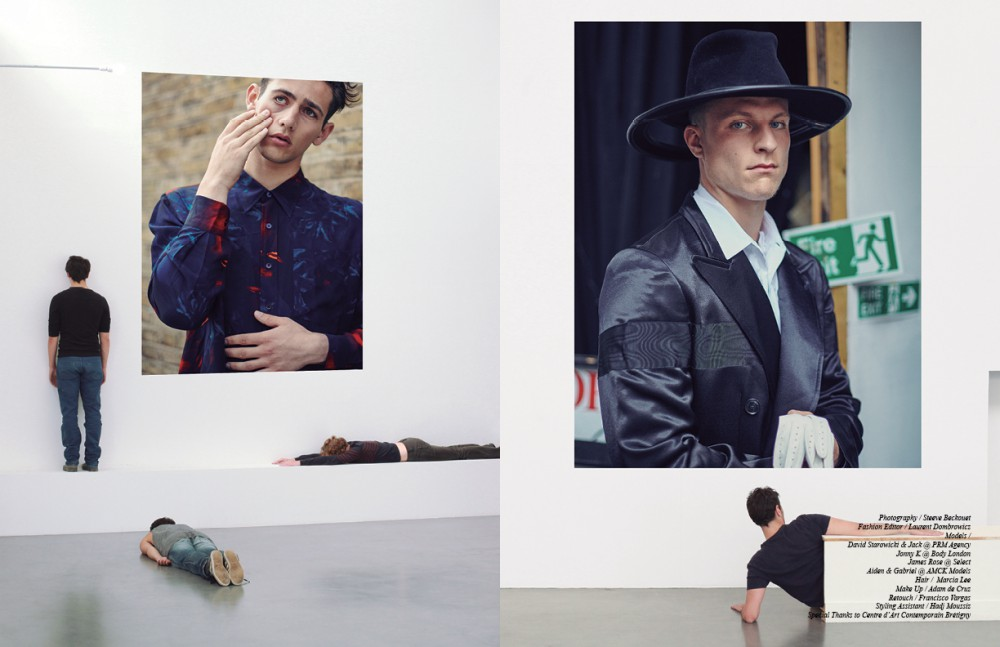 'Self Portrait' / Egon Schiele James wears Shirt / AMI Alexandre Mattiussi Opposite 'Portrait of a Man Holding Gloves' / Rembrandt David wears Coat / Dries Van Noten Shirt / Yohji Yamamoto Hat / Benoît Foucher Gloves / Agnelle