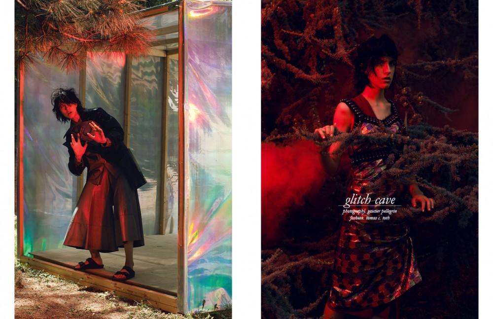Coat / Calvin Klein Collection Shirt & trousers / DROMe Sandals / Birkenstock Bag / Stylist's own Opposite Dress / Marco De Vincenzo Dress underneath / Twisty Parallel Universe