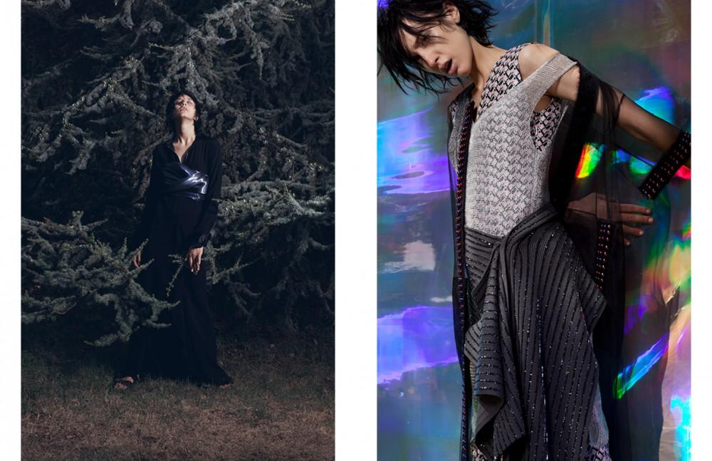 Dress / CoSTUME NATIONAL Dress worn as bustier / Alice Tamburini Opposite Dress / Missoni Dress underneath / Twisty Parallel Universe Negligee / Marco De Vincenzo Scarf around waist / ANTEPRIMA