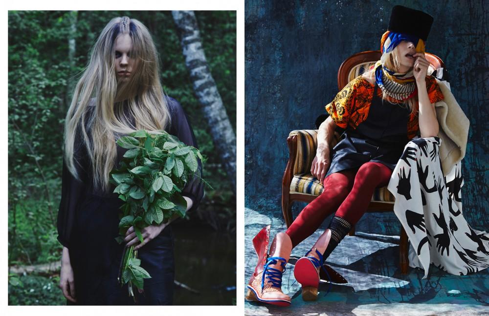 Dress / Ilona Pelli Skirt / Marita Huurinainen Opposite Hat & jacket / Onar T-shirt / Nina Jatuli Apron / gTie Shoes / Oona Pylkkänen Scarf / LUMI Scarf on chair / R/H