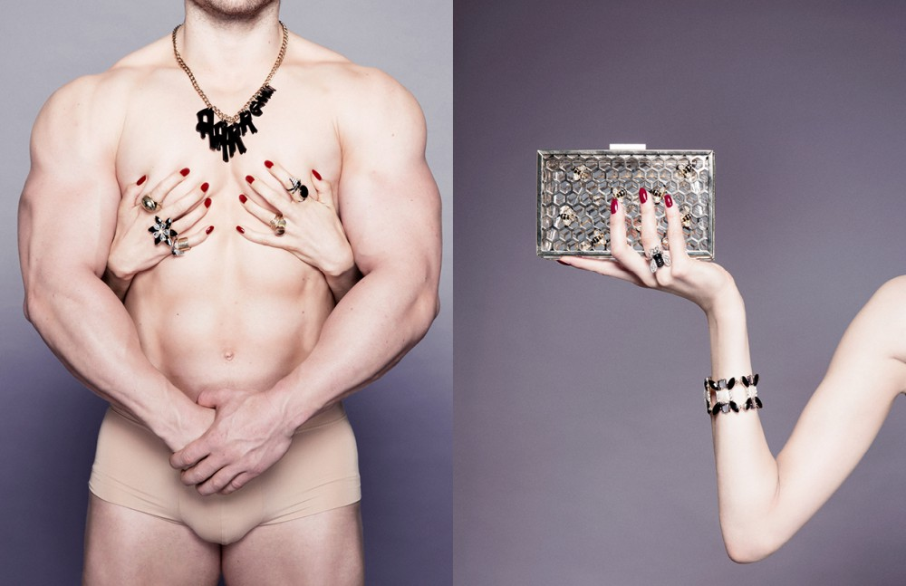 Necklace / Tatty Devine Ring / Dyrberg Kern Ring / Swarovski Ring / Stylist's own Ring / ASOS Ring / Stylist's own Opposite Bag / Skinndip Bracelet / Paperdolls