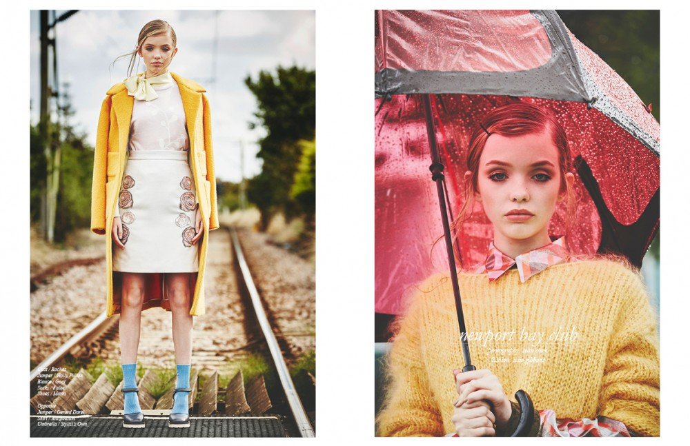 Coat / Rochas Jumper / Holly Fulton Blouse / Goat Socks / Falke Shoes / Marni Opposite Jumper / Gerard Darel Shirt / Anitpodium Umbrella / Stylist's Own