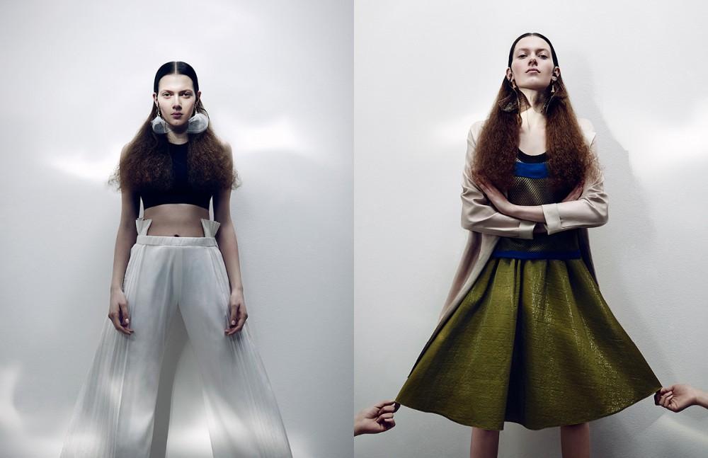 Top / H&M Trousers / Marie Lüder Earrings / William Fan Opposite Coat / René Lezard Top / Odeeh Skirt / Dorothee Schumacher Earrings / William Fan