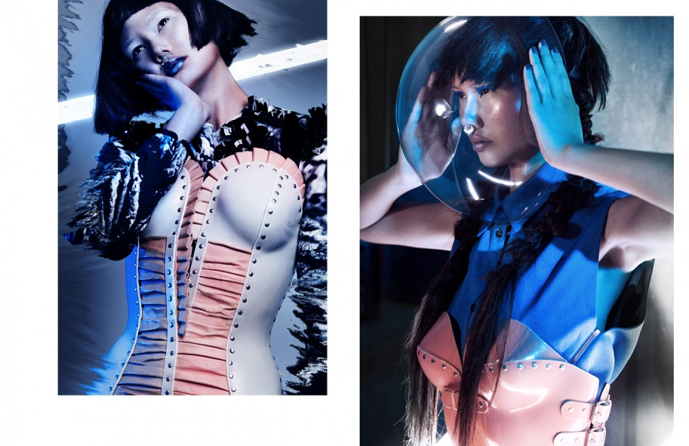 Dress / Steinrohner Leather Corset / Marina Hoermanseder Opposite Vest / Capara Leather Bustier / Marina Hoermanseder Nose Ring / Givenchy Skirt / Valentino