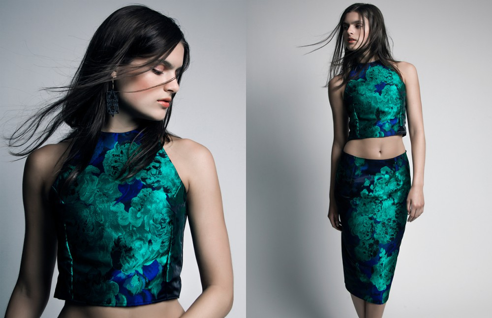 Floral top, skirt & laser-cut earrings / Genoveva Christoff
