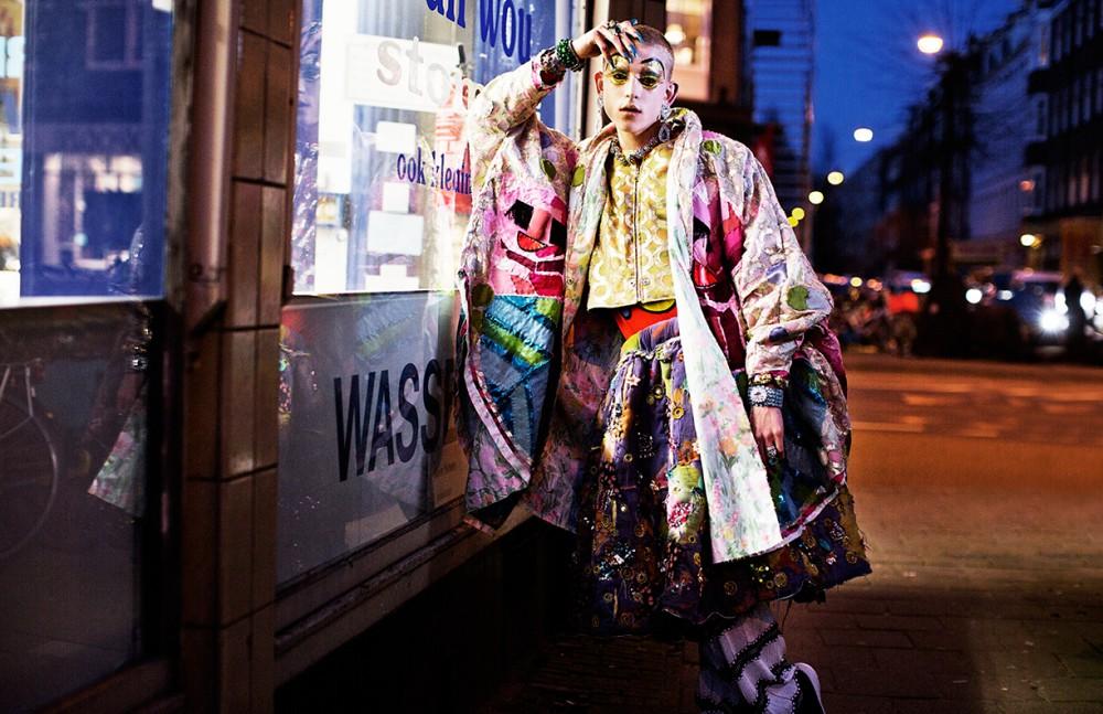 Cape/skirt / Bas Kosters Sweater / Moschino Pants / Missoni Jewelry / Otazu