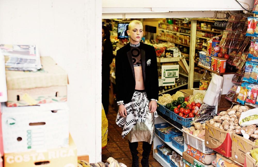 Jacket / Dolce & Gabbana Crop top / Bjorn Borg Metalic skirt / Monki Shirt / Drykorn Boots / Model's own Earrings, Bracelets & Brooch / Otazu