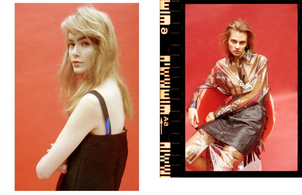 Eve @ Select wears Dress / MIUNIKU Opposite Eva @ Next wears Dress / Sankuanz Leather Skirt / Preen Shoes / Toga