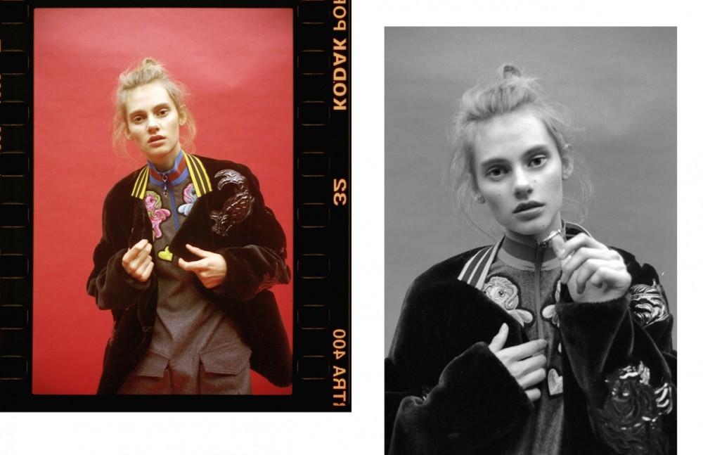 Eva @ Next wears Dress & Bomber / FYODOR GOLAN Jeans / AC Boots / Dries Van Noten
