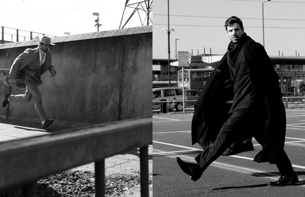 Coat / Grenfell Suit / Bally Top / Pal Zileri Hat / Soulland Socks / Falke Shoes / Vivienne Westwood Opposite Coat / Issey Miyake Men Suit / Casely Hayford Scarf / Mister & Mister Shoes / DAKS