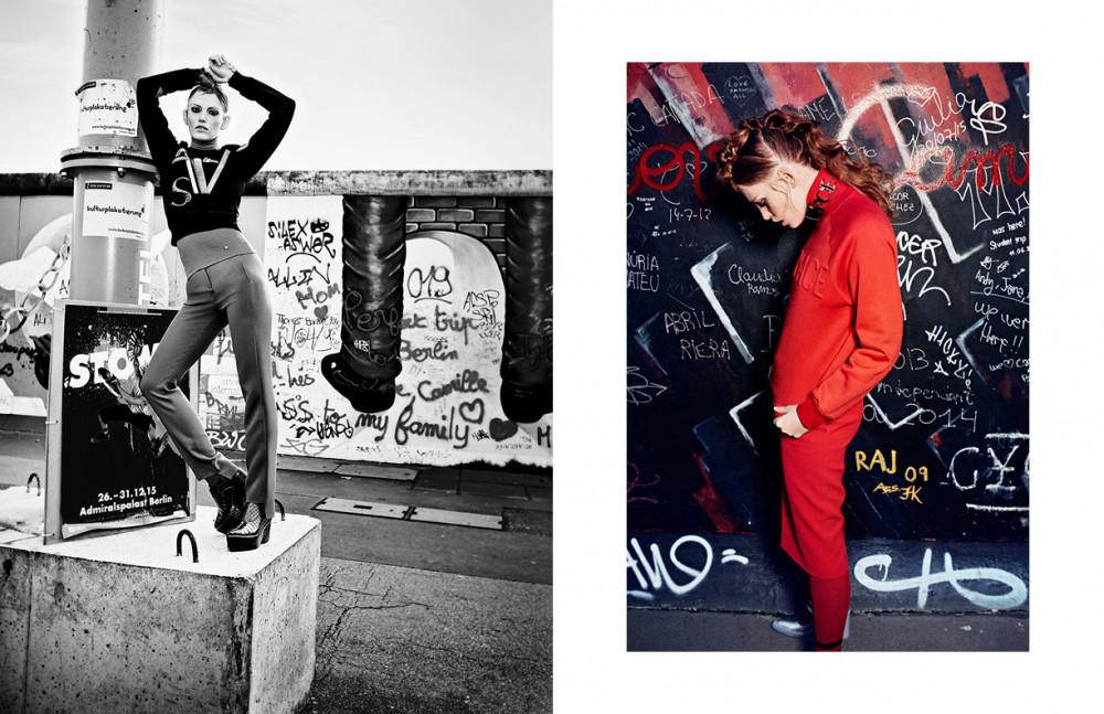 Jumper & Trousers / Versace Shoes / &Other Stories Socks / Giorgio Armani Opposite Coat, Jumper & Jewellery / Miu Miu Pullover, Skirt & Necklace / Versace Socks / Giorgio Armani