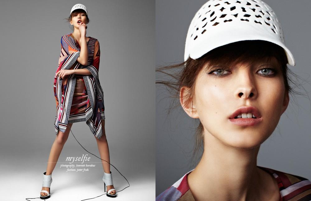 Laser Cut Baseball Cap / Kolos Schilling Dress / Diane von Furstenberg High Heel / Alexander Mcqueen
