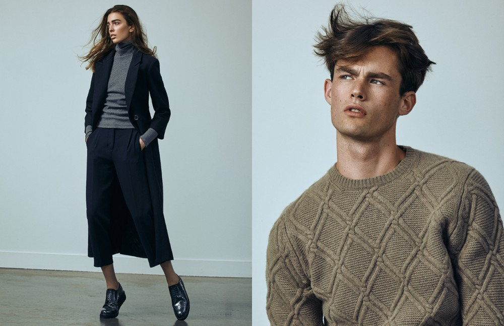 Nadiya wears Coat & Trousers / Pink Tartan Turtleneck / Beaufille Shoes / Gravity Pope Liam wears Sweater / Massimo Dutti