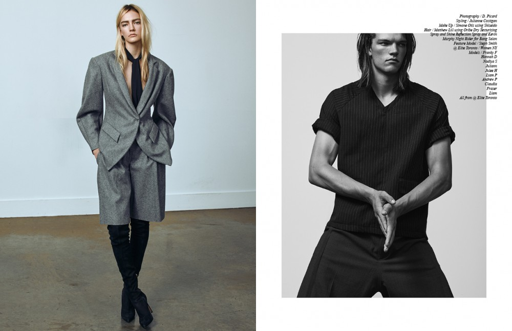 Steph wears Shorts & Jacket / Lucian Matis Shoes / Sergio Rossi Fraser wears T-Shirt / Willis Chan Shorts / Ante Meridiem