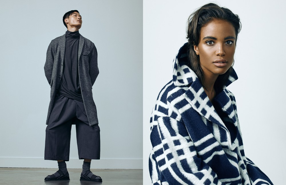 Franky wears Coat / Gravity Pope Trousers & Turtleneck / Ante Meridiem Hannah wears Coat / Pink Tartan