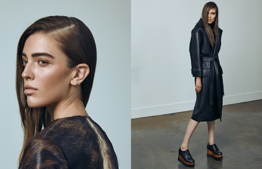 Nadiya wears Coat - Greta Constantine Juliann wears Coat / Beaufille Shoes / Jeffrey Campbell