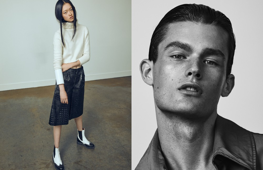 Julee wears Jumper / Polina Boltova Shorts / Lucian Matis Boots / Church's Liam wears Jacket / Christopher Bates
