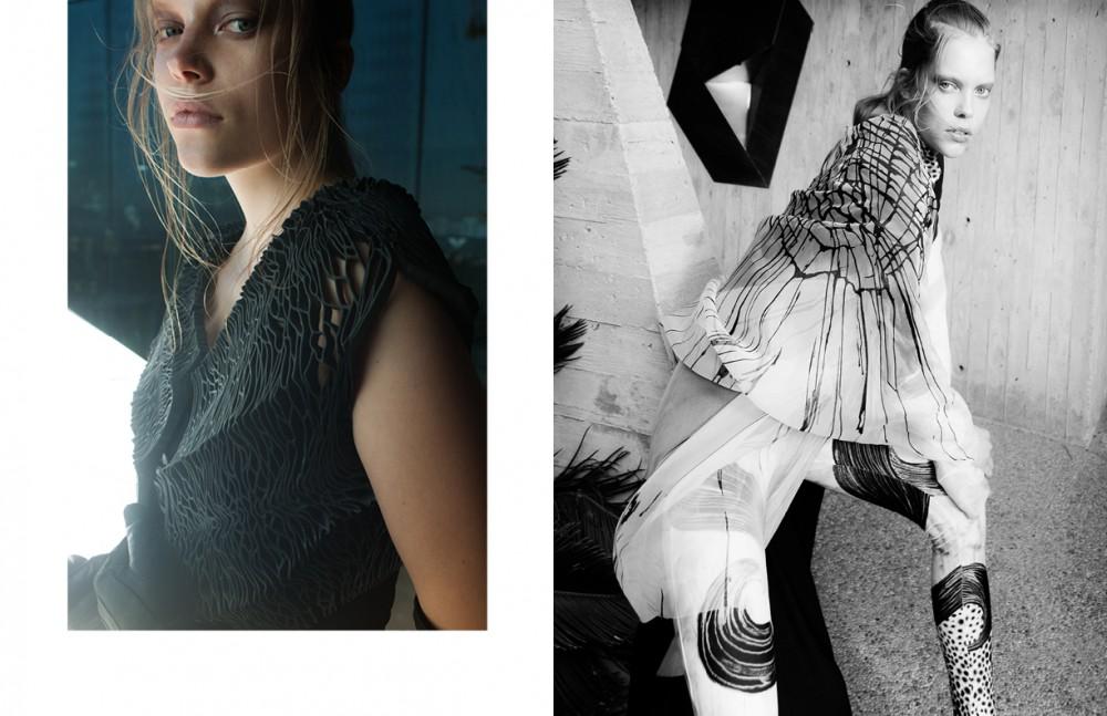 Hymenium Jacket / Julia Koerner Dress / Preen Trousers / Emanuel Ungaro Gloves / Majesty Black Opposite Bodysuit / Sarah Sachs Dress / Johan Paul Ataker Robe / Valerj Pobega