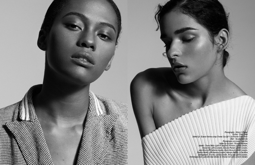 Dominique Dunn @Established Models wears Gianfranco Ferré Blazer / Versus Versace SS16 Opposite Simone Carvalho @Storm Models wears Apujan Dress / Guy Laroche SS16